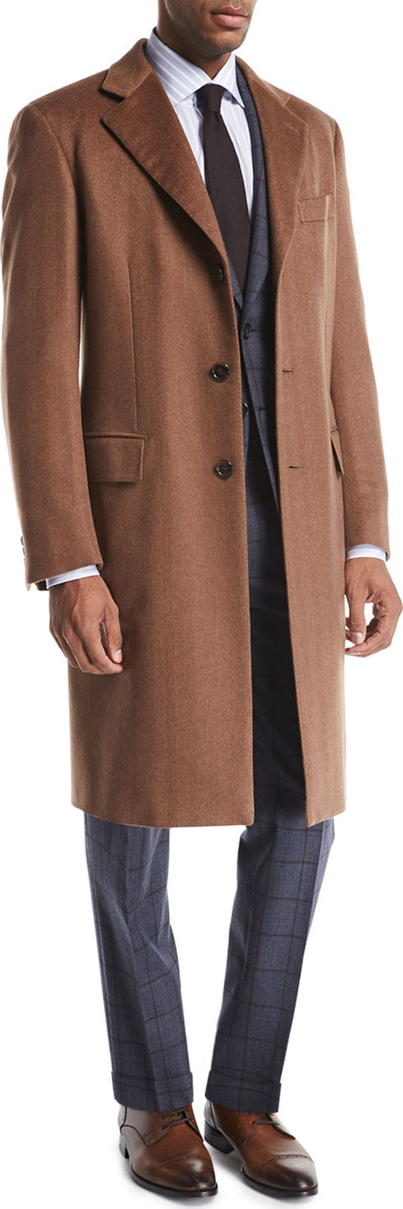 Brioni Single-Breasted Cashmere Top Coat