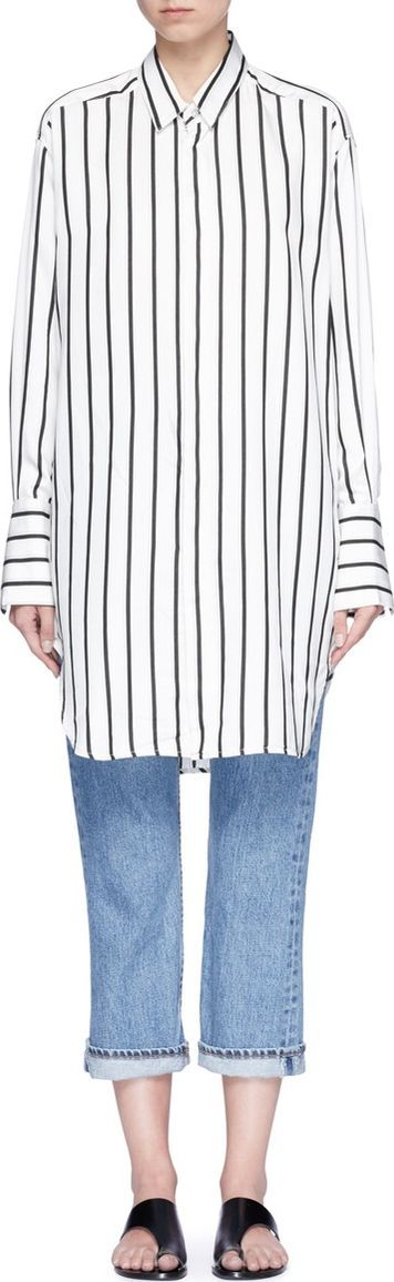 Bassike Stripe herringbone oversized shirt
