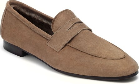 Bougeotte Suede and Shearling Penny Loafers
