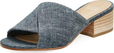 Eileen Fisher Ruche Chambray Slide Sandal