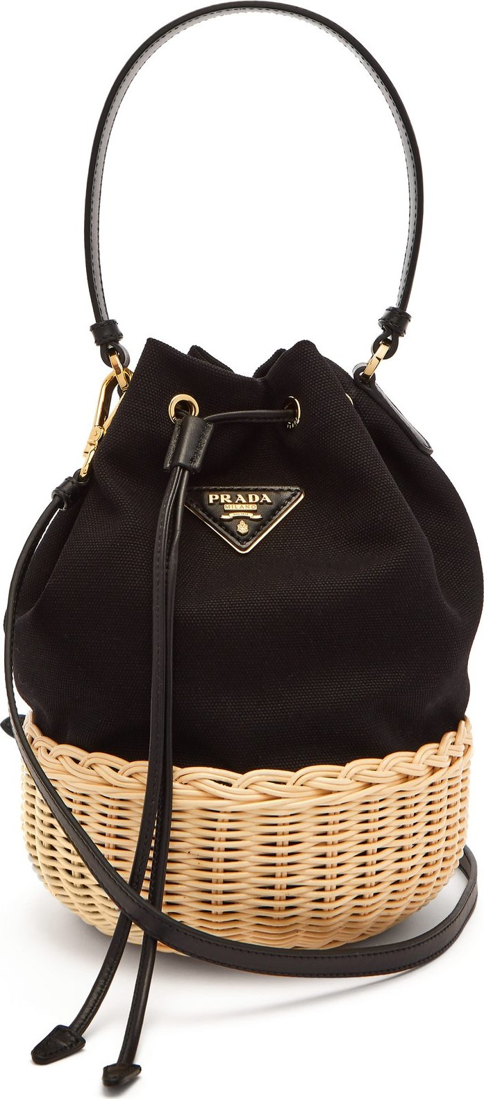 409688bb2797 Prada Canvas and woven straw bucket bag - Mkt