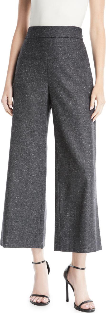 Rebecca Taylor Cropped Herringbone Wide-Leg Pants