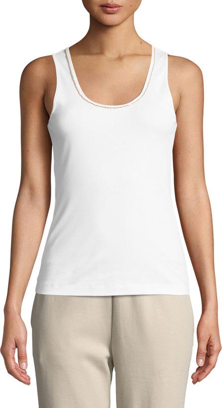 Joan Vass Golden-Chain Sleeveless Cotton Tank Top