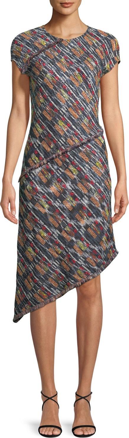 St. John Painterly Multi-Tweed Knit Asymmetric Fringe Dress