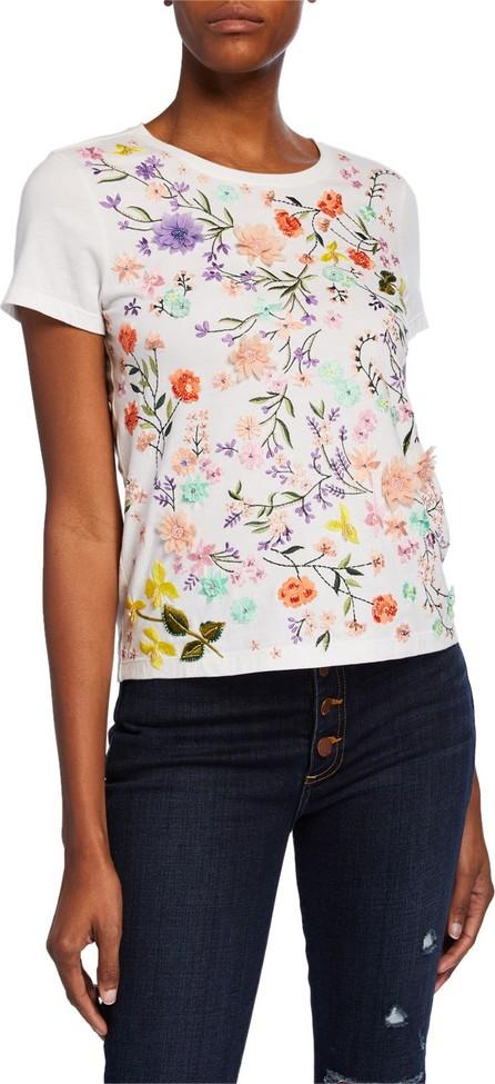Alice + Olivia Rylyn Floral Embellished Short-Sleeve Crewneck Top