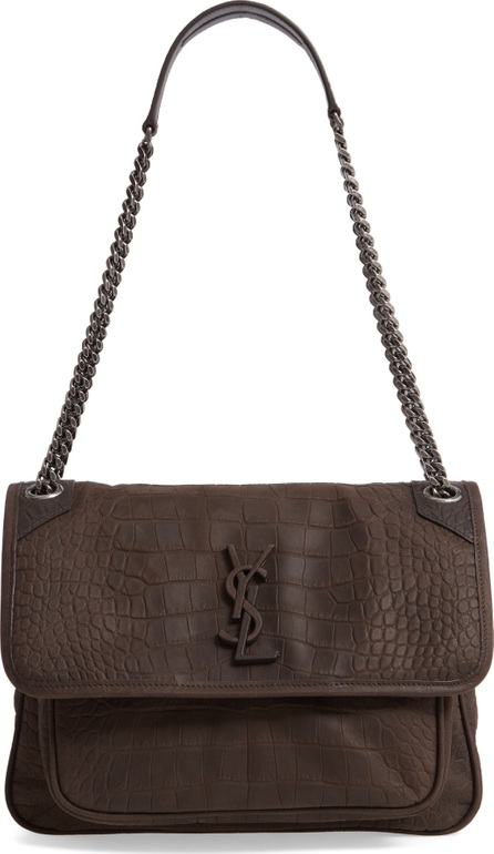 Saint Laurent Medium Niki Croc-Embossed Shoulder Bag