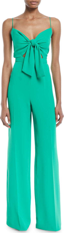 Jay Godfrey Camrose Silky Crepe Jumpsuit w/ Tie Front