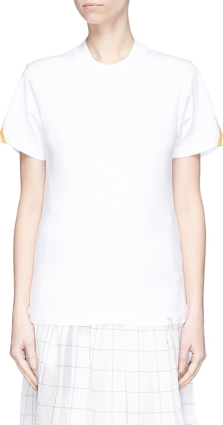 FACETASM Stripe rib knit panel T-shirt