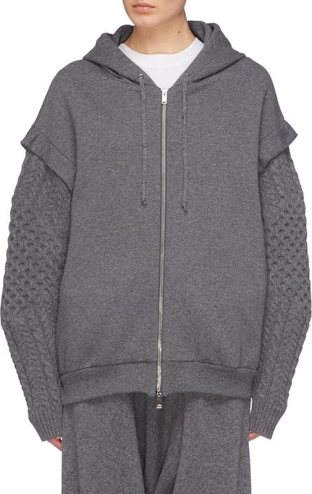 Stella McCartney Aran knit sleeve oversized zip hoodie
