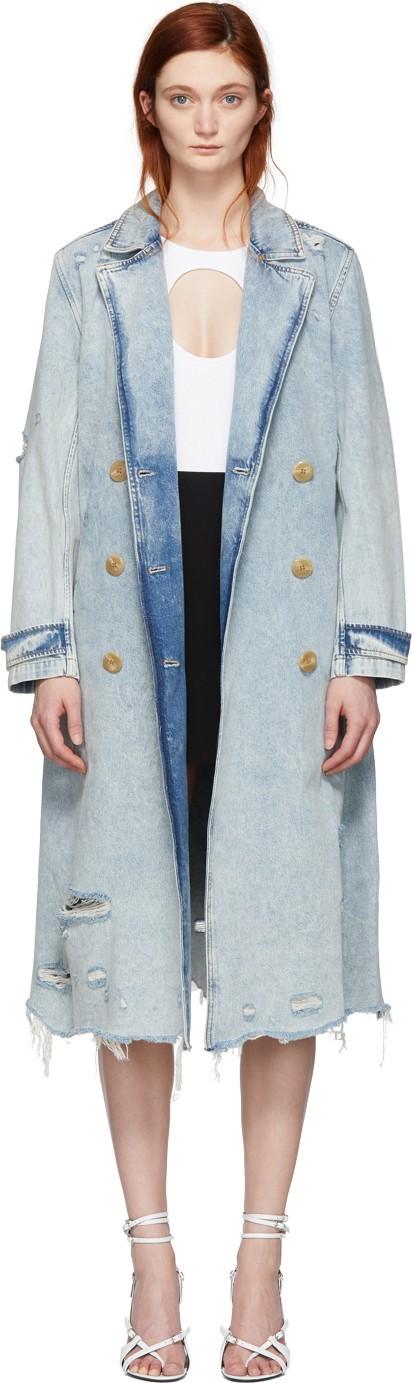 Alexander Wang Blue Denim Bleached Trench Coat