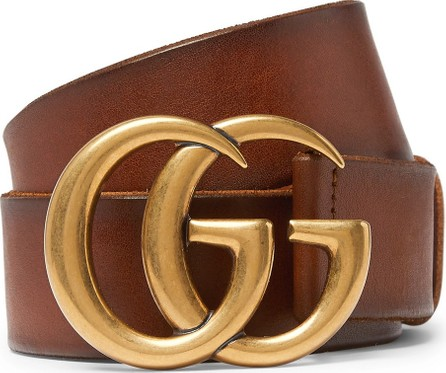 Gucci 4cm Tan Burnished-Leather Belt