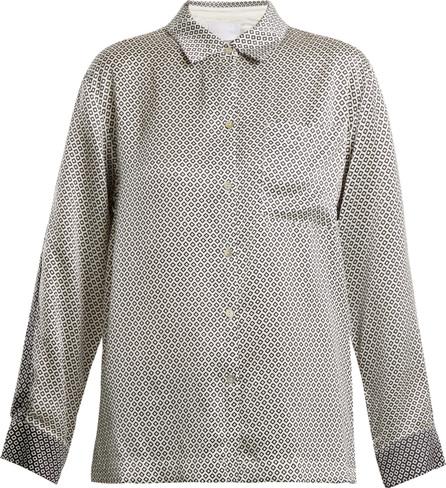 Asceno Geometric-print silk pyjama shirt