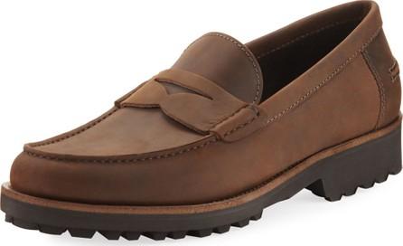 A. Testoni Waterproof Leather Penny Loafer