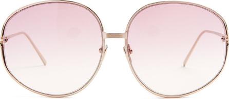 Linda Farrow Square-frame gold-plated sunglasses