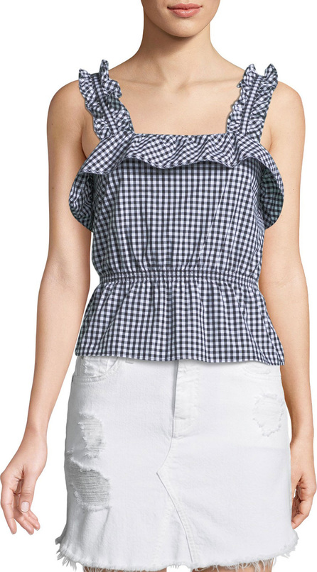 7 For All Mankind Ruffled Gingham Peplum Top
