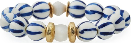 Akola Striped Bead Stretch Bracelet, Blue/White