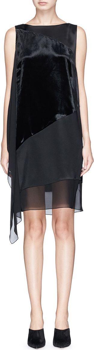 Lanvin Peaked drape velvet and satin A-lined dress