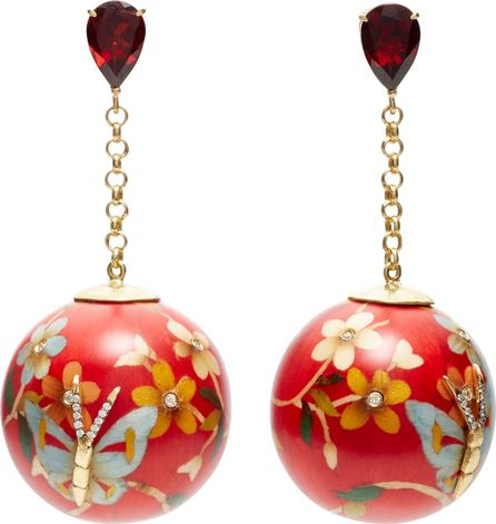 Silvia Furmanovich 18K Gold Marquetry Red Butterfly Drop Ball Earrings