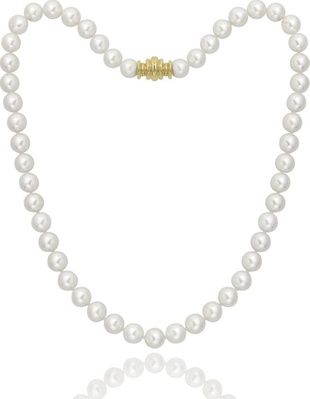 """Assael Short 7.5mm Akoya Pearl-Strand Necklace w/ 18k Gold, 16""""L"""