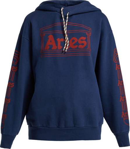 Aries Logo-print hooded cotton sweatshirt