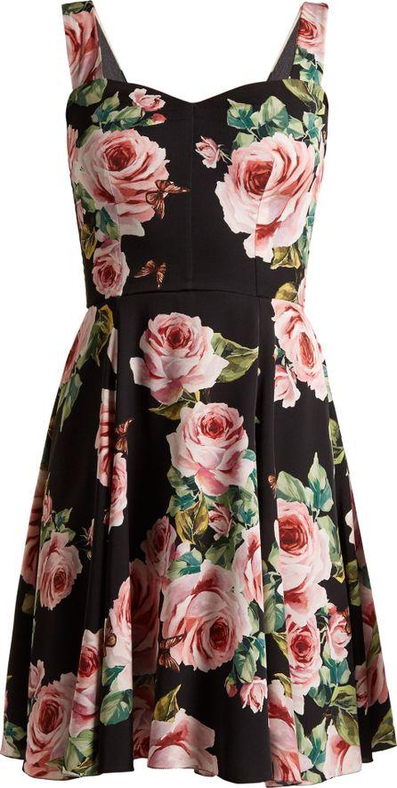 Dolce & Gabbana Rose-print sweetheart-neckline charmeuse dress