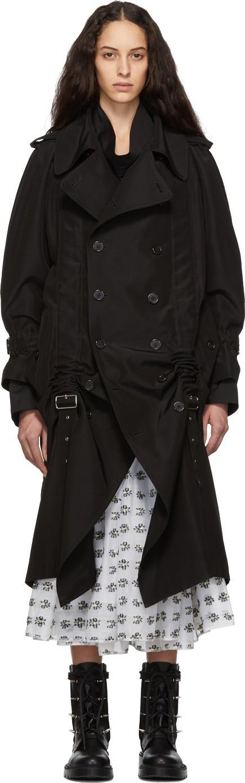 Noir Kei Ninomiya Black Silk & Cotton Belt Trench Coat