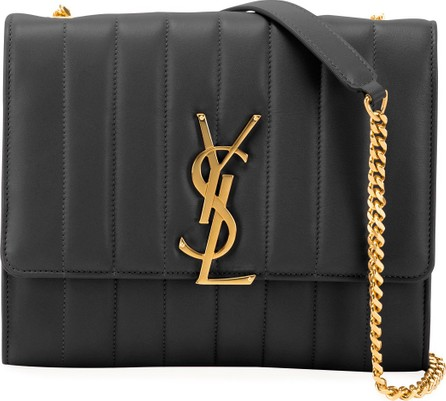 Saint Laurent Vicky Monogram YSL North/South Quilted Leather Wallet on Chain