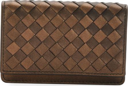 Bottega Veneta Metallic Intrecciato Flap Card Case
