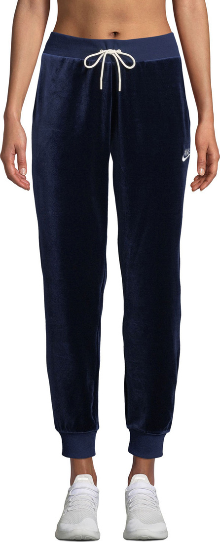 Nike Velour Drawstring Track Pants, Blue
