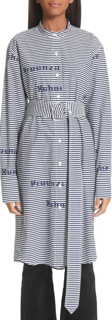 Proenza Schouler PSWL Logo Stripe Longline Poplin Shirt