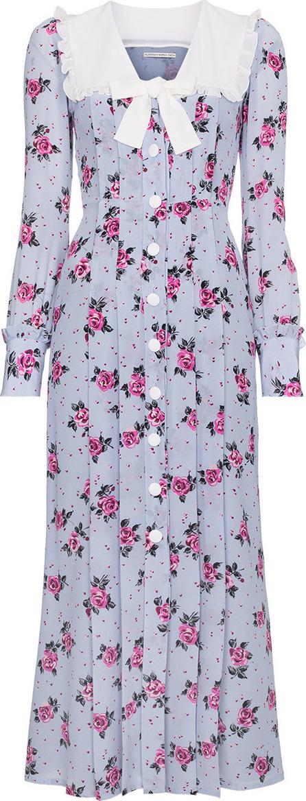 Alessandra Rich Rose Print Silk Dress