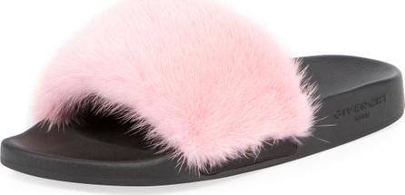 Givenchy Mink-Fur Flat Slide Sandal