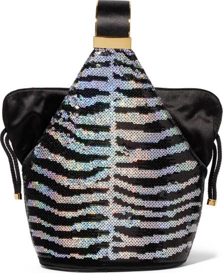 Bienen-Davis Kit mini satin-trimmed sequined velvet bucket bag