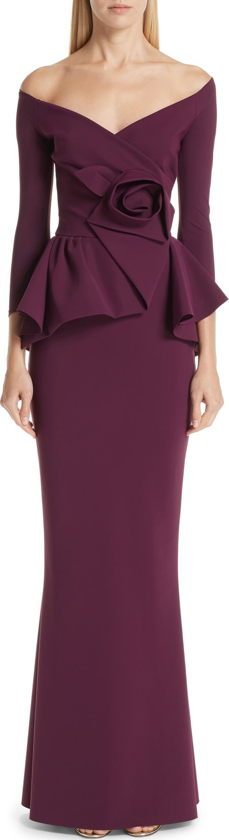 La Petite Robe di Chiara Boni Almunda Off the Shoulder Peplum Gown
