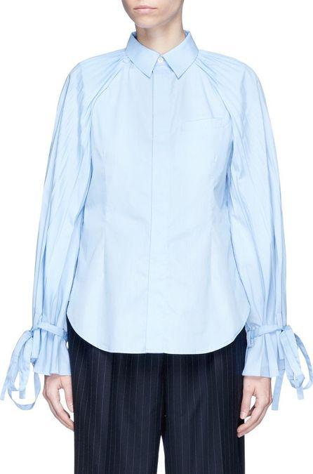 FACETASM Sash cuff pleated shirt