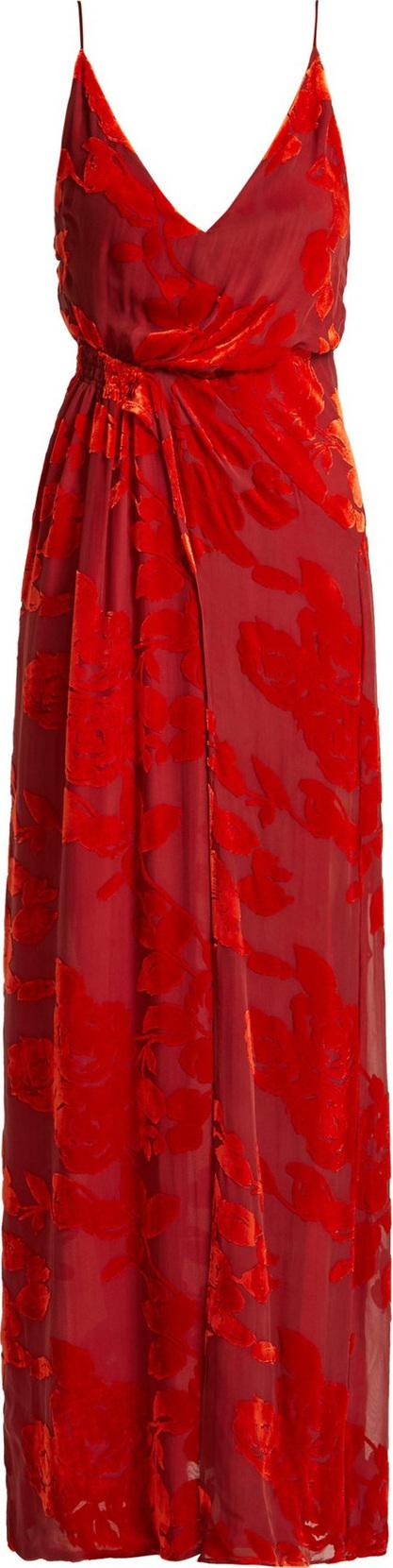 Galvan Rose devoré-velvet dress