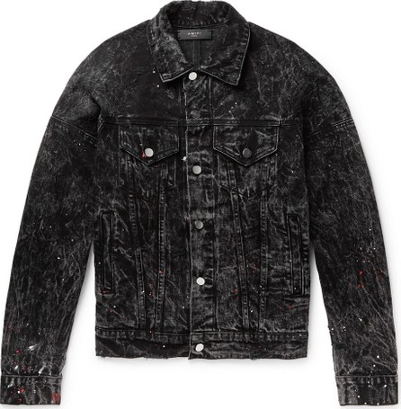 Amiri Oversized Striped Paint-Splattered Denim Jacket