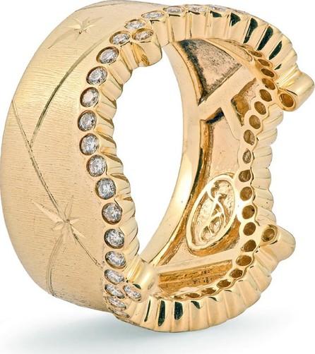Adam Foster Fine Jewelry 18k Yellow Gold Diamond-Trim Stackable Ring, Size 7