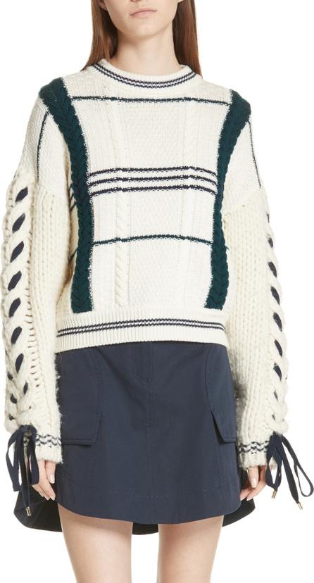 Carven Cable Knit Merino Wool & Alpaca Sweater