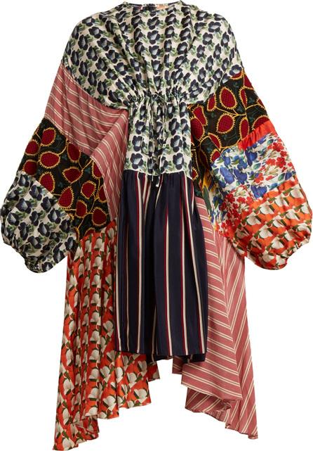 Biyan Arie patchwork drawstring silk dress