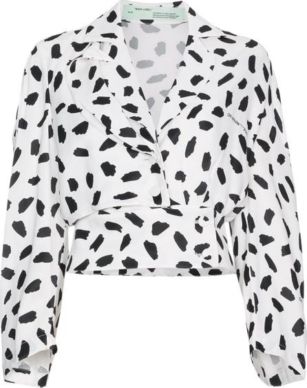 Off White V-neck pois print long sleeve blouse