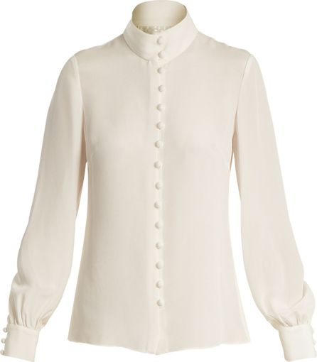 Goat Fleur silk-crepe blouse