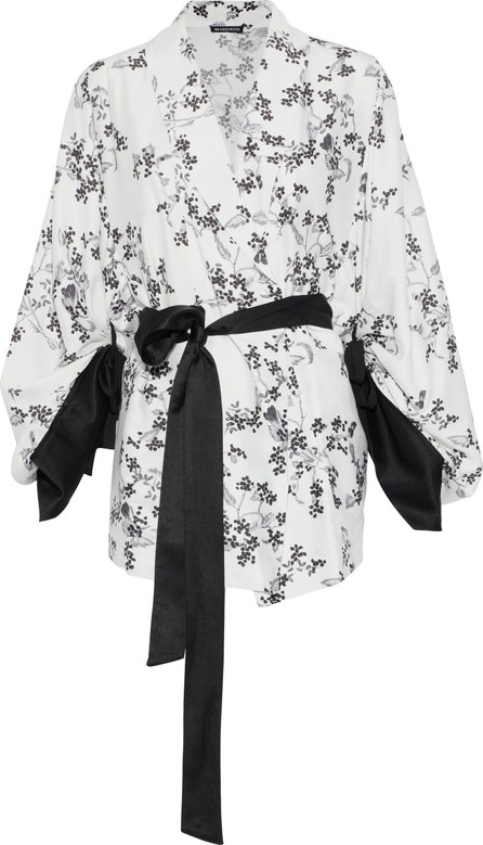 Ann Demeulemeester Satin-trimmed floral-print crepe kimono
