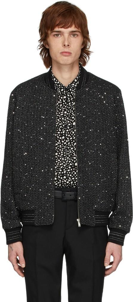 Saint Laurent Black & Silver Tweed Teddy Bomber Jacket