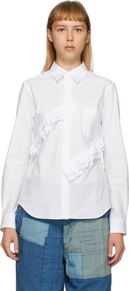 Comme Des Garçons Comme Des Garçons White Broad Double Ruffle Shirt