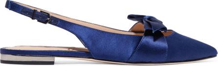 Sam Edelman Bow-embellished satin point-toe flats
