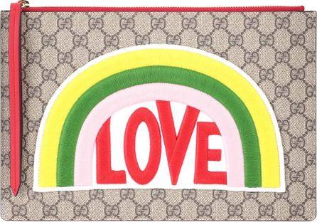 Gucci GG Supreme embroidered clutch