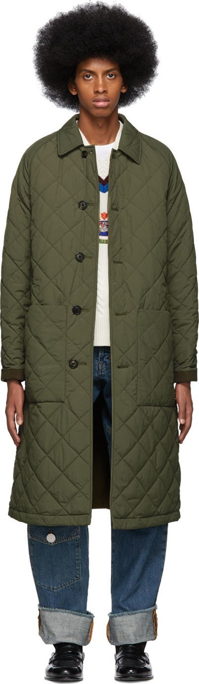 Burberry London England Reversible Green & Khaki Ableford Coat