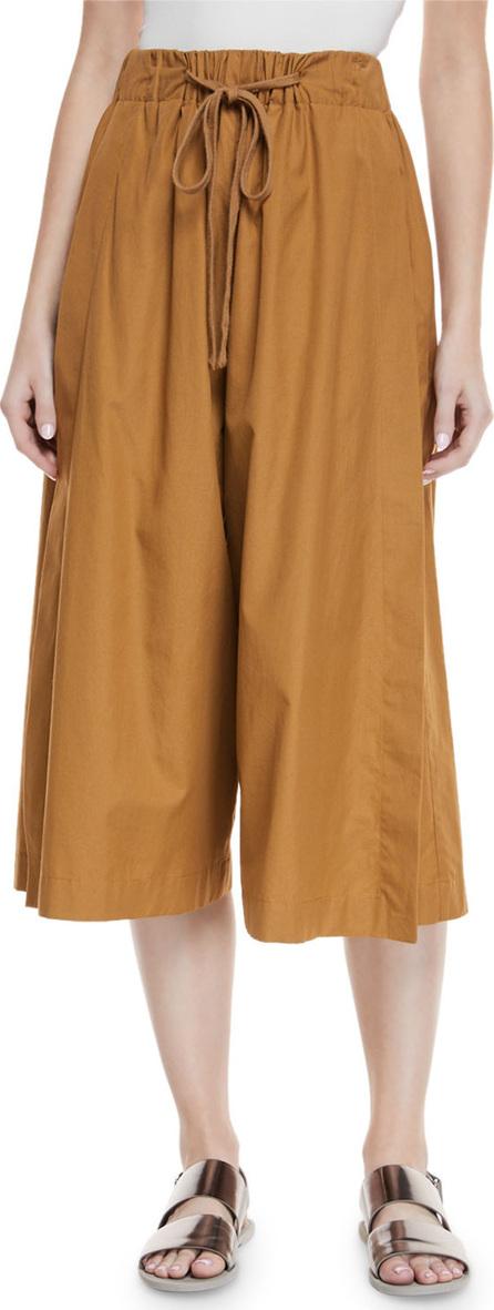 Vince Drawstring Side-Slit Cropped Culotte Pants