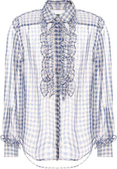 Alexachung Frilled gingham shirt